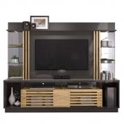Estante Home Theater Frizz Gold para TV até 55 Polegadas Titanio Carvalho AR Decor
