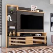 Estante Home Theater Frizz Prime Para Tv 55 Polegadas Titanio Carvalho Ar Decor