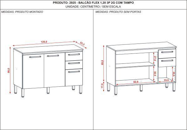 Balcão Flex 1,20m 3 Portas 2 gavetas Com Tampo - Kit's Paraná