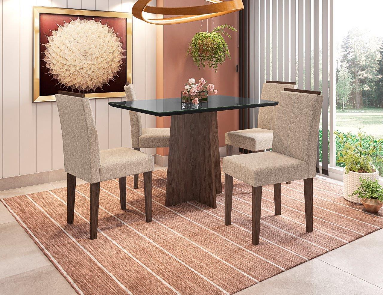 Conjunto Sala de Jantar Mesa Ana 1,20m Tampo com Vidro e 4 Cadeiras Amanda - New Ceval