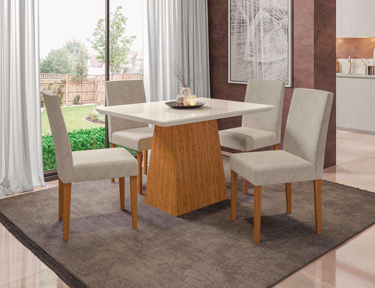 Conjunto Sala de Jantar Mesa Barbara 1,20m Tampo com Vidro e 4 Cadeiras Heloisa - New Ceval