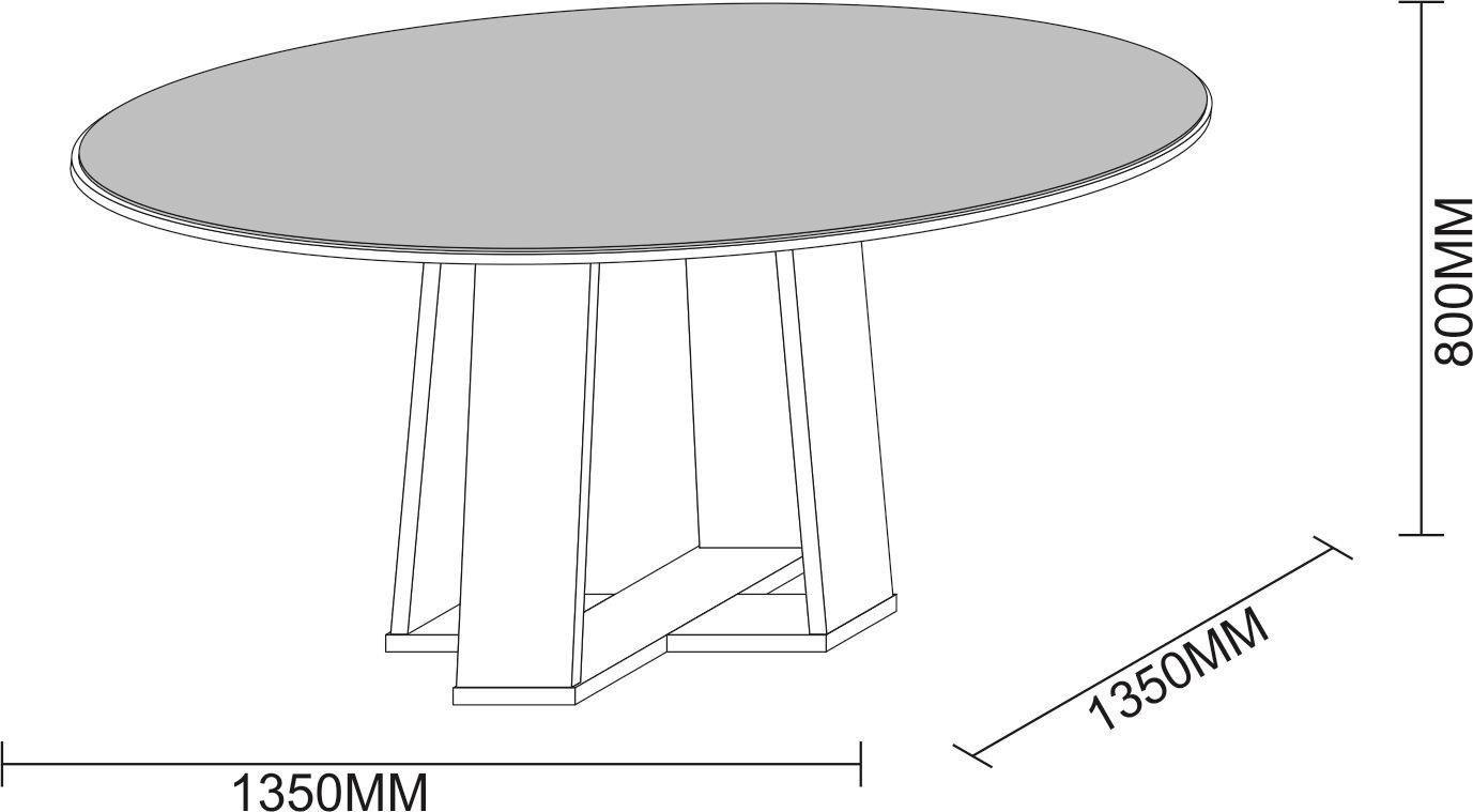 Conjunto Sala de Jantar Mesa Isabela 1,35m Tampo com Vidro, Tampo Giratório e 6 Cadeiras Amanda - New Ceval