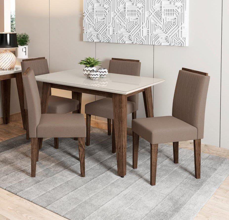 Conjunto Sala de Jantar Mesa Jade 1,20m Tampo com Vidro e 4 Cadeiras Ana - New Ceval