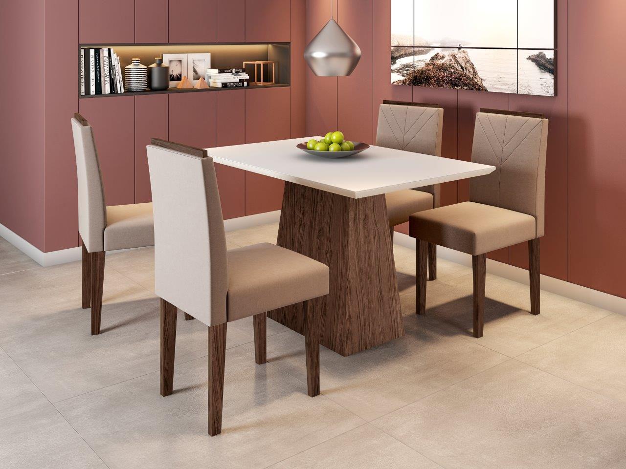 Conjunto Sala de Jantar Mesa Jasmin 1,20m Tampo com Vidro e 4 Cadeiras Amanda - New Ceval