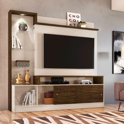 Estante Home Theater Frizz Prime Para Tv 55 Polegadas Off White Savana Ar Decor