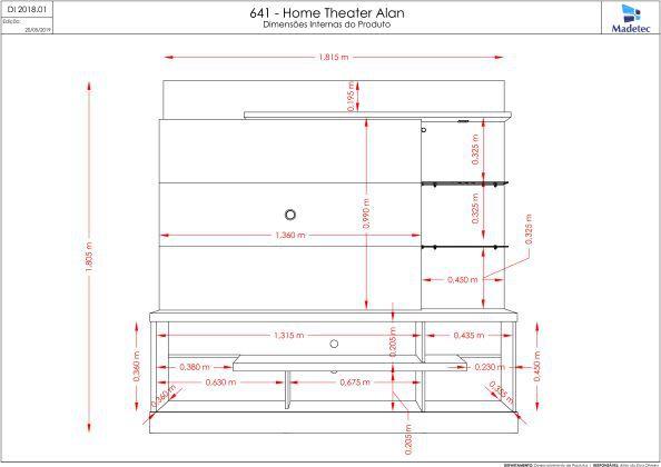 Estante Home Theater Alan Para TV de até 55 Pol. - Madetec