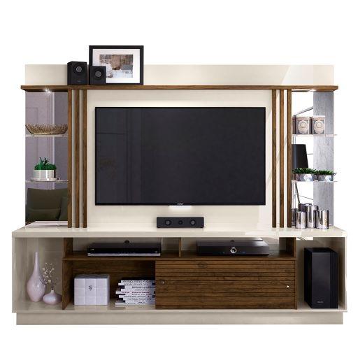 Estante Home Theater Frizz Gold para TV até 55 Polegadas Off White Savana AR Decor
