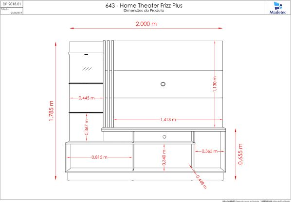 Estante Home Theater Frizz Plus Para Tv 60 Polegadas Fendi Naturale Ar Decor