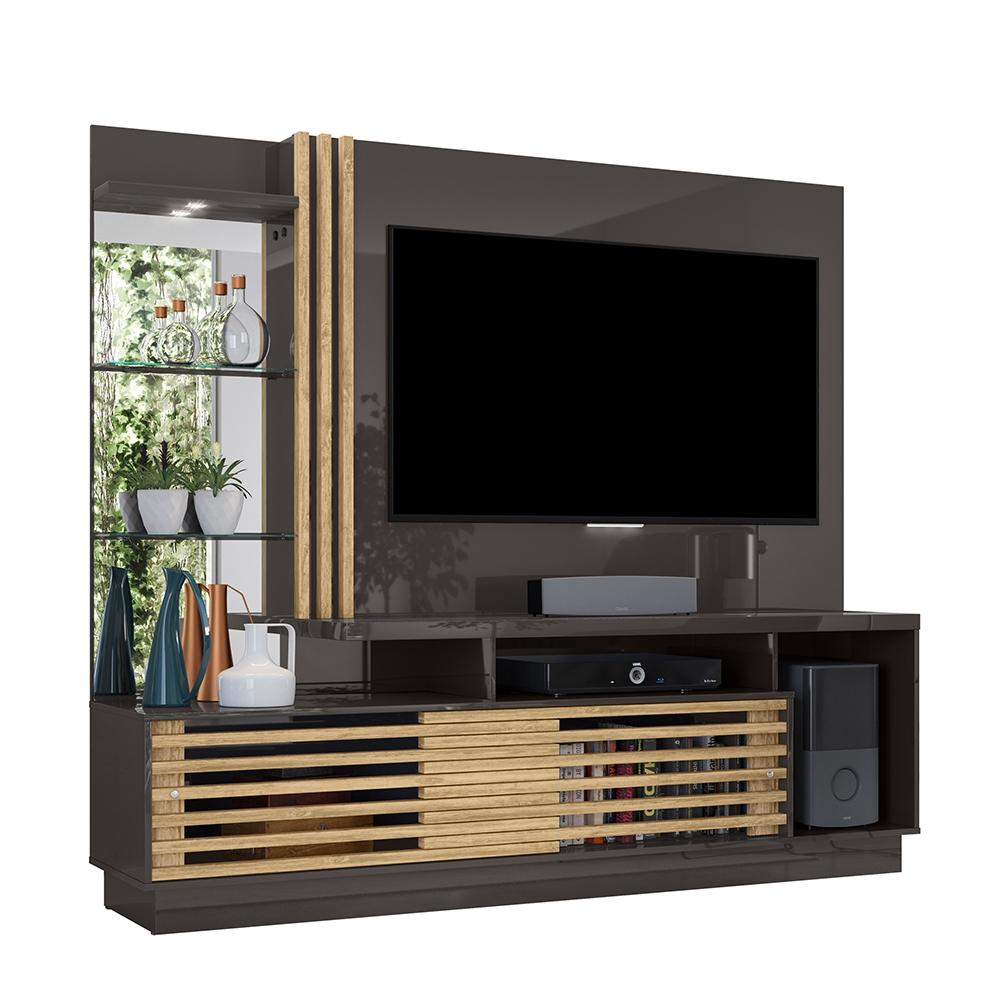 Estante Home Theater Frizz Plus Para Tv 60 Polegadas Titanio Carvalho Ar Decor