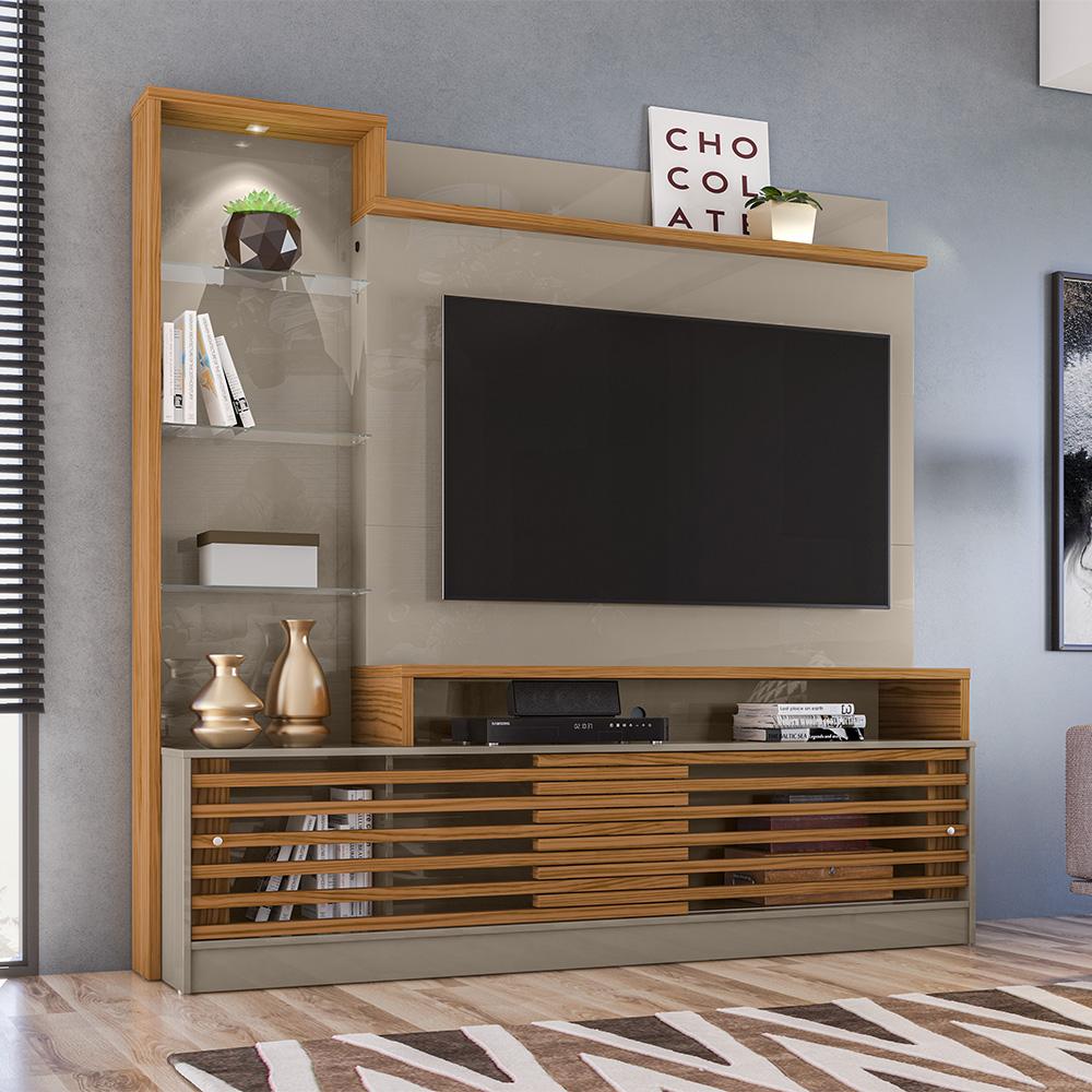 Estante Home Theater Frizz Prime Para Tv 55 Polegadas Fendi Naturale Ar Decor