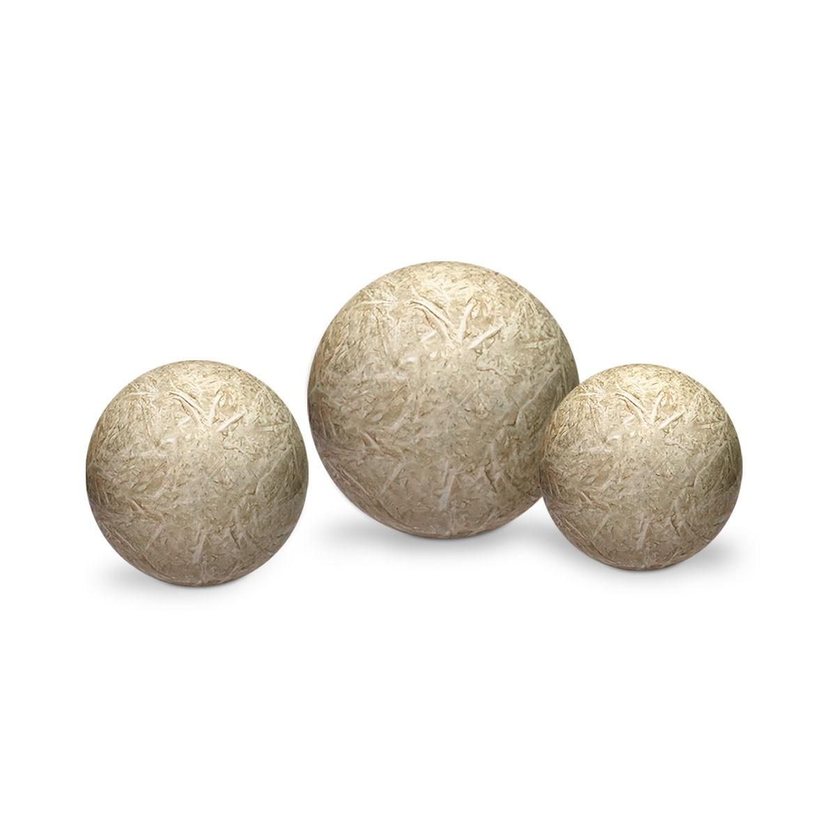 Trio Esferas Enfeite de Mesa Decoração Cerâmica Bege Petra