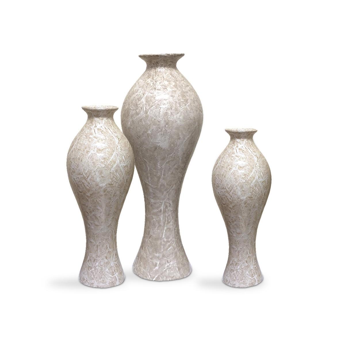 Trio Vasos De Mesa Califórnia Decoração Cerâmica Bege Petra