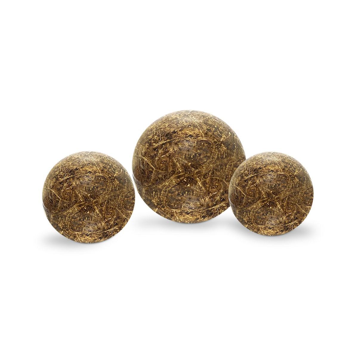 Trio Esferas Enfeite de Mesa Decoração Cerâmica Marrom Petra