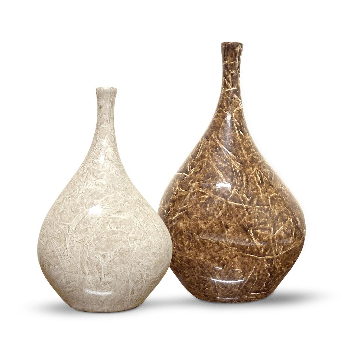 Dupla Garrafa Cristal Decoração em Cerâmica Marrom e Bege Petra