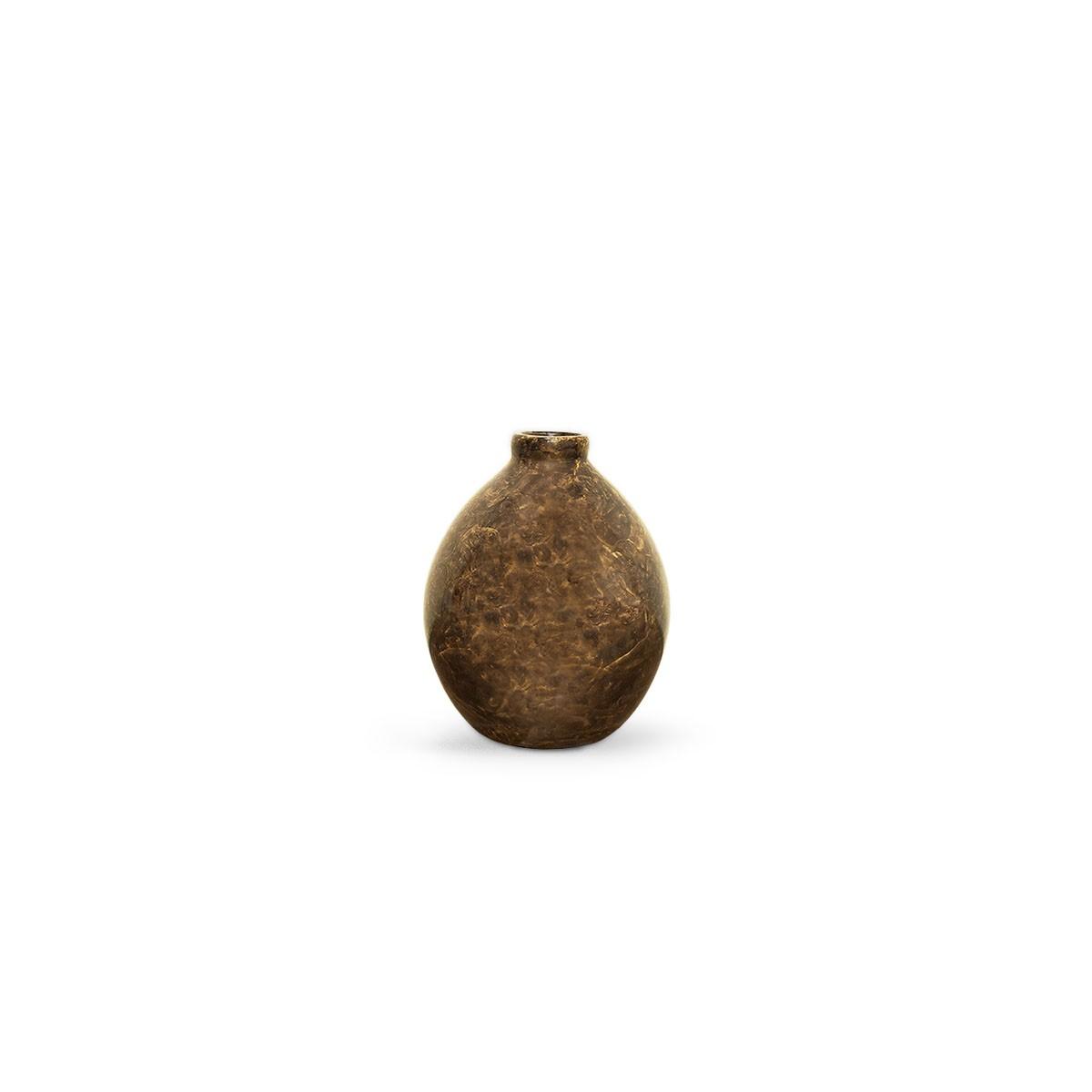Vasinho Oasis P Decoração em cerâmica Marrom Petra Enfeite de Mesa