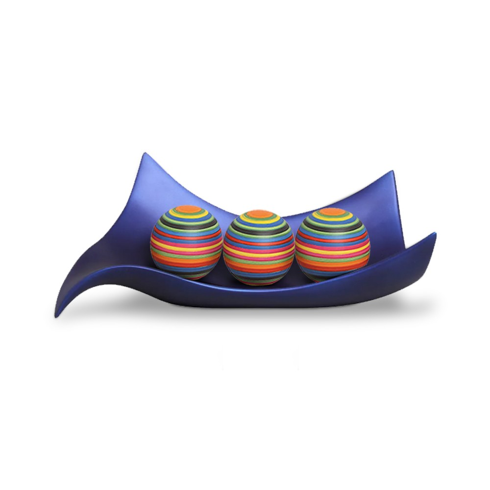 Centro de Mesa Classic Azul com Esferas Coloridas Cerâmica