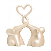 Casal De Elefantes Trompas Coração Cerâmica Decorativa Creme