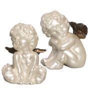 Dupla Escultura Anjinhos Decoração Em Cerâmica Fendi Capuccino