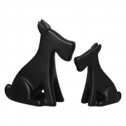 Dupla Cachorrinho Escultura Decoração Cerâmica Preto Fosco