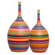Dupla Garrafa Decorativa Luna Decoração Em Cerâmica Colors