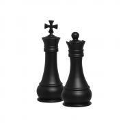 Dupla Peças Xadrez Rei E Rainha Cerâmica Preto Fosco