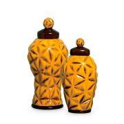 Dupla Pote Diamante Decoração Cerâmica Malaquita
