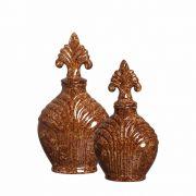 Dupla Pote Imperial Decoração Em Cerâmica Marrom Petra