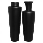 Dupla Vaso De Chão Paris E Madri Cerâmica Preto Fosco