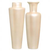 Dupla Vaso De Chão Paris E Madri Decoração Em Cerâmica Creme