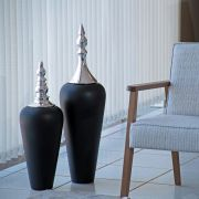 Dupla Vaso de Chão Decorativo Atlanta Tampa Cromada Preto Fosco