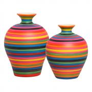 Dupla Vaso Decorativo Topázio Decoração Cerâmica Colors