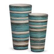 Dupla Vaso Firenze Decoração Em Cerâmica Azul e Palha Marrakesh