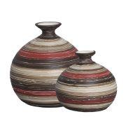 Dupla Vaso Maia G e P Decoração Cerâmica Vermelho Marrom Terracota