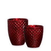 Dupla Vaso Mônaco Decoração Em Cerâmica Vinho Scarlet