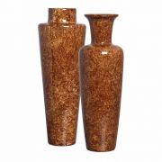 Dupla Vaso Paris E Madri Decoração Em Cerâmica Marrom Petra