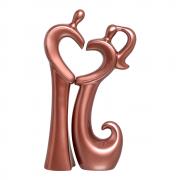 Escultura Casal Coração Cerâmica Decorativa Rose Gold
