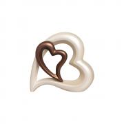 Escultura Decorativa Coração Em Cerâmica Café E Creme
