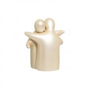 Escultura Abraço Enamorados Decoração Cerâmica Creme