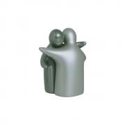 Escultura Abraço Enamorados Enfeite Cerâmica Cinza Fosco