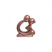 Escultura Casal Namorados Decoração Cerâmica Rose Gold