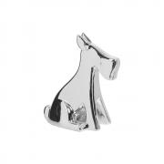 Escultura Pet Cachorrinho G Decoração Cerâmica Cromado