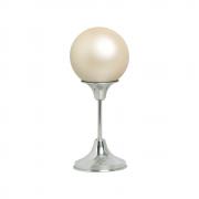 Esfera G Com Pedestal De Alumínio Decoração Cerâmica Creme