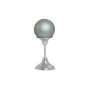Esfera M Com Pedestal Alumínio Decoração Cerâmica Cinza Fosco