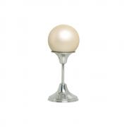 Esfera M Com Pedestal De Alumínio Decoração Cerâmica Creme