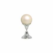 Esfera P Com Pedestal De Alumínio Decoração Cerâmica Creme