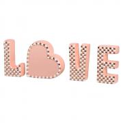 Palavra Love Letras Decorativas Coração Com Detalhes Cerâmica Rose
