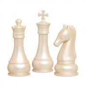 Peça De Xadrez Rei Rainha Cavalo Decoração Cerâmica Creme