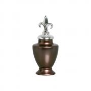 Pote Lírio P Com Detalhe Cromado Cerâmica Bronze