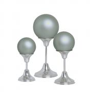 Trio Esfera Com Pedestal Alumínio Decoração Cerâmica Cinza Fosco