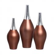 Trio Garrafa Styllo Com Alumínio Enfeite De mesa Cerâmica Café